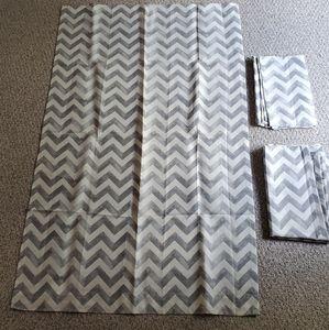 Set of 4 gray and white chevron curtain panels